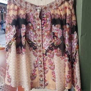 Boho button front skirt